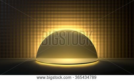 3d Render Of Round Golden Stage, Podium Or Pedestal In Black Room Lit With Golden Light. Perfect Ill