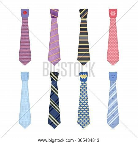 Set Of Various Colored Ties Isolated On White Background. Men Accessories Ties Fashioned. Big Colore