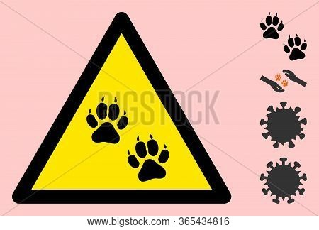 Vector Tiger Footprints Flat Warning Sign. Triangle Icon Uses Black And Yellow Colors. Symbol Style