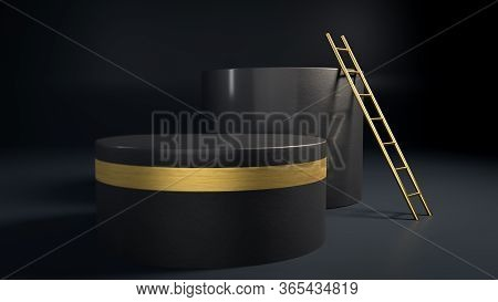 3d Render Of Black And Golden Geometric Figures And Golden Stepladder In Dark Interior. Abstract Min