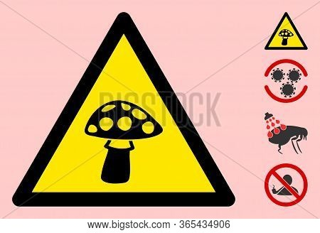 Vector Toxic Mushroom Flat Warning Sign. Triangle Icon Uses Black And Yellow Colors. Symbol Style Is