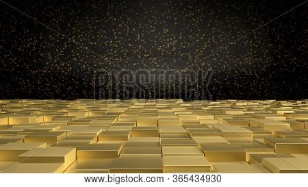 3d Render Of Interior With Golden Cubes On Floor And Black Wall With Golden Sparkles. Perfect Illust