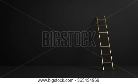 3d Render Of Golden Stepladder In Black Dark Interior. Perfect Illustration For Placing Your Text Or