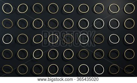 3d Render Of Golden Rings Or Circles Over Black Background. Perfect Illustration For Placing Your Te
