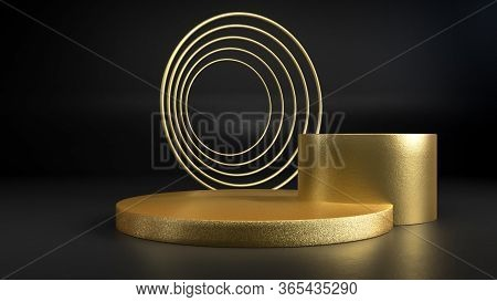 3d Render Of Golden Round Stage, Pedestal Or Podium On Black Background. Perfect Illustration For Pl