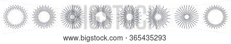 Set Of Vintage Hand Drawn Sunburst Rays Design Elements, Explosion Black Rays. Bursting Rays Sunrise