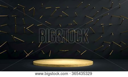 3d Render Of Golden Round Stage, Pedestal Or Podium In Black Studio With Golden Spikes. Perfect Illu