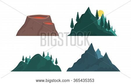 Set Of Elements Of Mountain Nature Silhouette. Various Mountains Many Vector Illustrations. Nature L