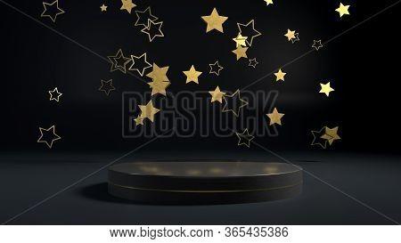 3d Render Of Golden Stars Flying Over Golden Round Stage, Pedestal Or Podium In Black Interior. Perf