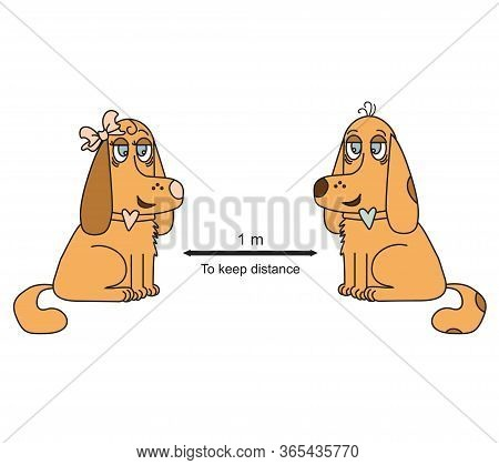Keep a remote sign with brown dogs. She is with a bow and he. COVID-19 Coronovirus epidemiological protection. Warning and protection. Keep a distance of 1 meter. Vector illustration