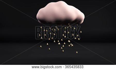 3d Render Of Golden Rain Going From Pink Cloud Flying In Black Interior. Abstract Minimalist Illustr