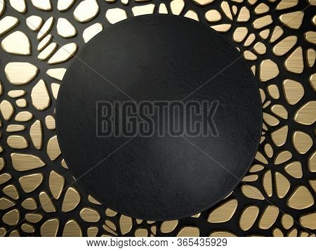3d Render Black Round Plate Or Banner Over Golden And Black Animalistic Background. Perfect Abstract