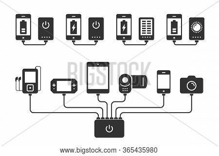 Silhouettes Smartphone, Tablet, E-book, Player, Camera And Camcorder Charged By Powerbank