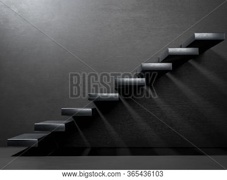 Black Stairs On Wall In Dark Interior. Business Growth, Progress And Achievement Creative Concept. M
