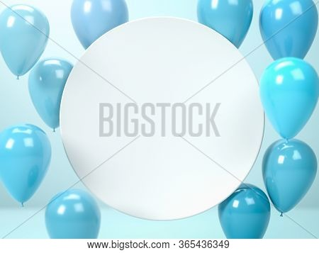 3d Render Of White Round Blank Plate Or Board And Flying Blue Air Balloons. Perfect Abstract Illustr