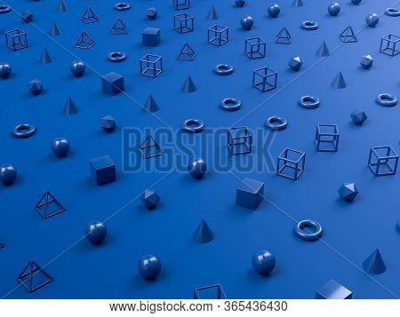 Abstract Minimalism Background With Blue Geometric Shapes O Blue Background. 3d Render Illustration