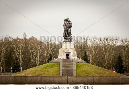Berlin, Germany. February 16, 2020. Soviet War Memorial Treptow And Military Cemetery In The Treptow