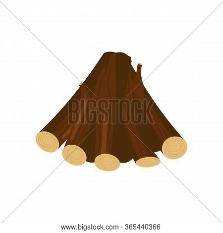 Pile Of Logs Illustration. Tree Trunk, Firewood, Timber Harvest. Wood Concept. Can Be Used For Topic