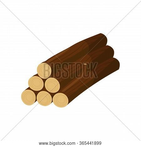 Stack Of Logs Illustration. Tree Trunk, Woods, Lumber Harvest. Wood Concept. Can Be Used For Topics