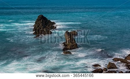Long Exposure Of The Ocean And Three Rocks From Mendocino Headlands State Park, Northern California,