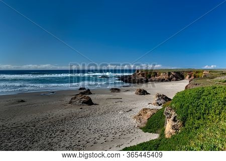 Mendocino, California, Usa, Fort Bragg, Long Exposure Of The Ocean By The Glass Beach On A Cloudles