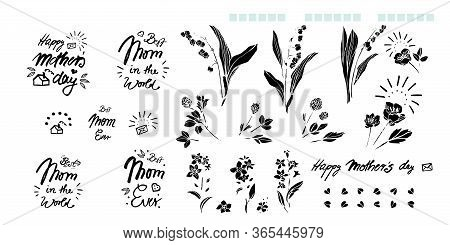 Mothers Day Hand Lettering Calligraphy Tatoo Flower Set, Greeting Card, Black Text, Word, Doodle, Ic