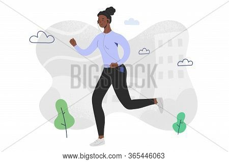 Afro-american Woman Running And Listening To Music In Headphones, Smartphone App, Character Runner,