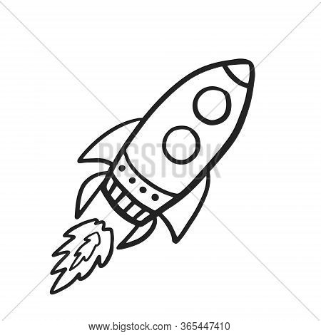 Rocket Spaceship. Vector Doodle Spaceship In Doodle Style. Flying Rocket On White Background