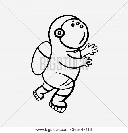Cosmonaut. Vector Linear Drawing Of An Astronaut. Man In Space