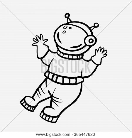 Cosmonaut. Vector Linear Drawing Of An Astronaut. Doodle Style Drawing. Man In Space