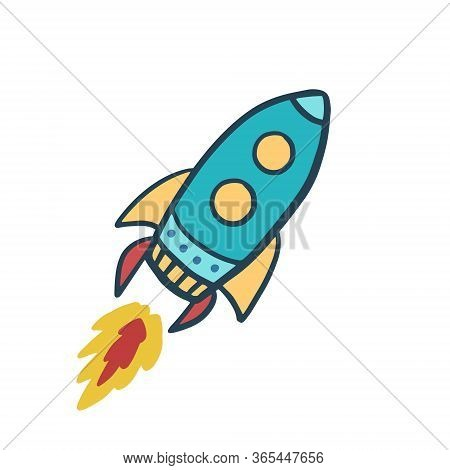 Rocket. Space Ship. Color Vector Illustration. Flying Rocket