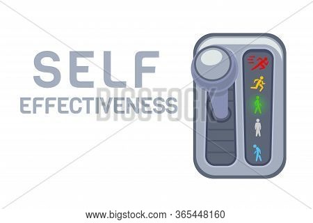Self Effectiveness Level Gear Box Over White Background, Concept Poster To Illustrate Personal Speed