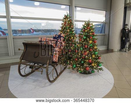 Vienna Schwechat, Austria - Circa November 2019: Santa Sleigh And Christmas Trees