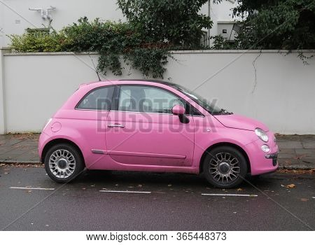London, Uk - Circa November 2019: Pink Fiat New 500 Car