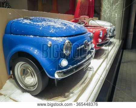 London, Uk - Circa November 2019: Blue Red And White Fiat 500 Cars Transformed Into Refrigerators