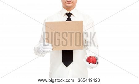 Businessman In Work Gloves With Tie Holds Cardboard Poster Protesting Unemployment Due To Quarantine