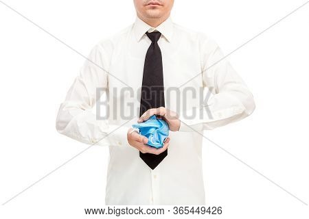 Faceless Man In White Shirt And Black Tie Crumpled Bunch Of Ineffective And Useless Medical Masks In
