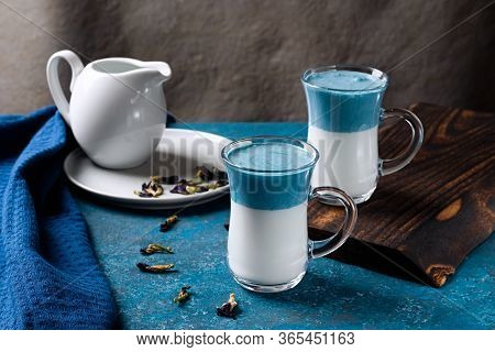 Latte Blue Pea Or Latte Blue Match. Hot Fresh Milk With Blue Butterfly Pea Flowers Or Latte Ternatea