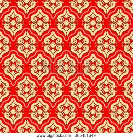 Seamless Brocade Pattern Of Rococo Swirls And Floral Motifs Elements Ornament. Baroque Ornamental Tr