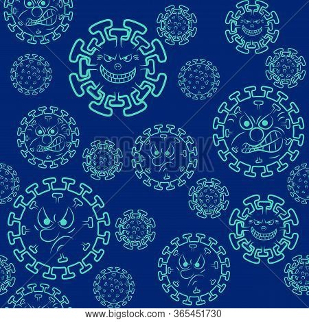 Seamless Pattern With Cartoon Coronavirus 2019-ncov. Crown Virus Icon. Background Or Decor For New C