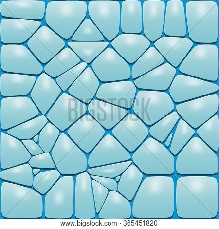 Blue Ice Stone Seamless Pattern. Large Road Or Wall Cobblestone Background.