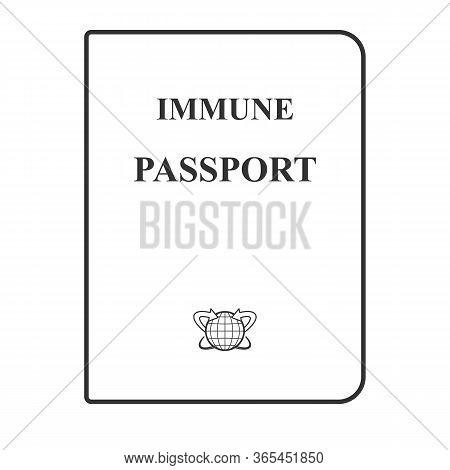 Immunity Passport. Sample Design. Linear Monochrome Icon. Document Of A Person Who Is Immune To Coro