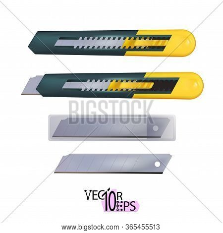 Realistic Yellow Construction Utility Knife With Segmented Blade And Snap-off Function Isolated On W