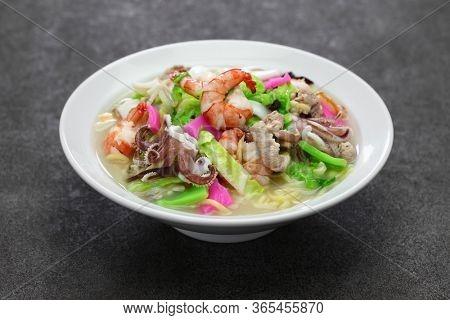 Nagasaki champon noodle soup, Japanese ramen dish