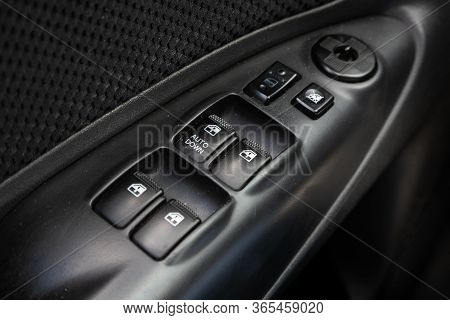 Novosibirsk/ Russia - May 02 2020: Hyundai Tucson, Close-up Of The Window Adjustment Buttons, Door L