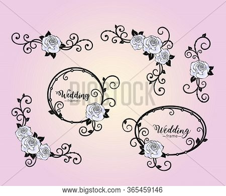 Flower Frames With Rose And Curls. Corner Of Roses And Swirls. Set Design Elements For Holiday Greet
