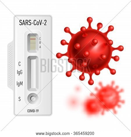 Lab Card Kit To Detect Covid-19 Coronavirus In Patient Samples. Test Igm-igg Rapid Test On White Bac