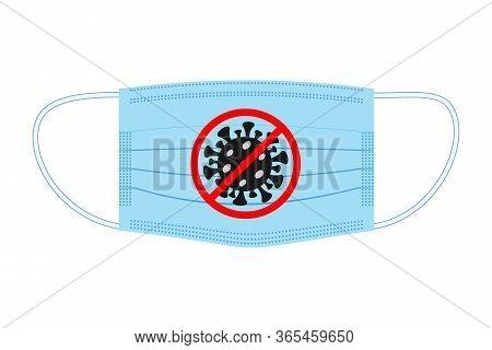 Medical face mask with stop coronavirus sign, antiviral defense sign, caution coronavirus, public health risks, coronavirus danger. Concept of a coronavirus outbreak, viruses, disease. Vector image