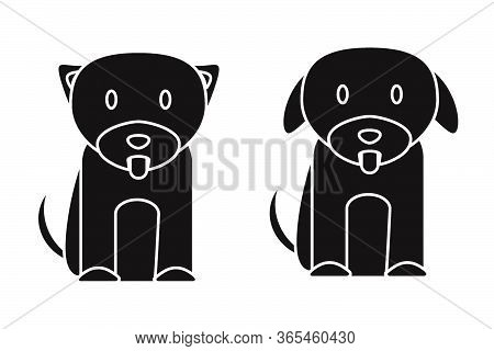 Puppy Dog. A Set Of Two Puppies Dogs Pictogram Icons Isolated On A White Background. Eps Vector