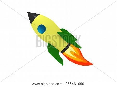 Comic Rocket 3d Illustration Render Isolated On White